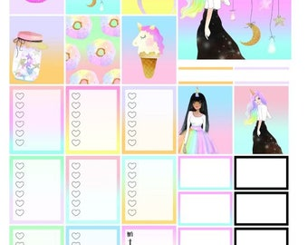 Unicorn Girl Weekly Kit Printable / erin condren, happy planner