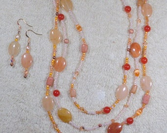 Multi Strand Orange Carnelian Necklace & Earrings