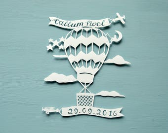 Hot Air Balloon Personalised Handcut Papercut, New Baby Gift, Birth, Birthday Present, Child's Bedroom, Children's Handmade Papercut