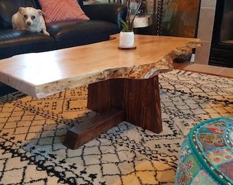 "Live edge hardwood handmade maple and walnut coffee table 15"" height x 45"" length x 18"", 25.5"", 23"" width"
