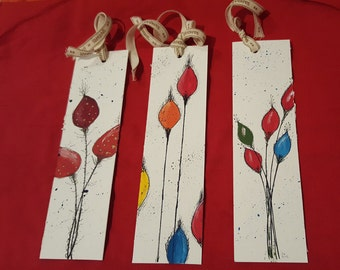 "Set 3 bookmarks series ""FLOWERS"""