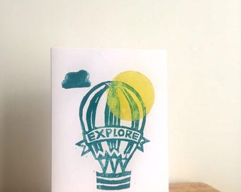 Hot Air Balloon Lino Print Handmade Card, explore, fly, sunshine, gift card, green, cloud, adventure, yellow, air, holiday, travelling