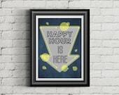 HOME BAR DECOR | 11X14 | Poster Print | Happy Hour |