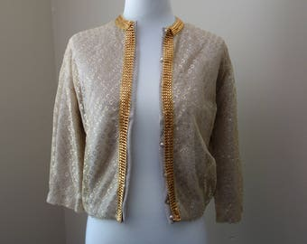 Vintage 1960s beige sweater with sheer gold overlay by Park-Storyk