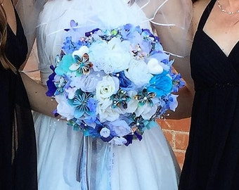 Disney Inspired One of a Kind Wedding Flower Bouquet for Brides - Silk & Paper Flowers