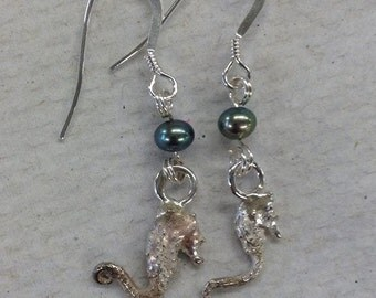 Cast Silver Seahorse Earrings with Green Pearls