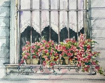 Original watercolor painting window and flower art