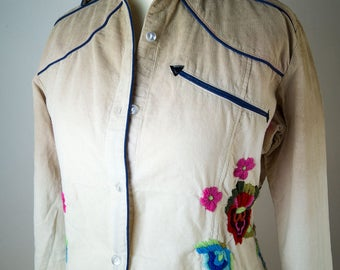 Vintage blouse, country - look, Velvet corduroy, Ombré with embroidered flowers, new