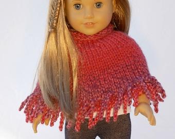 American Girl 18 inch doll poncho in red velvet