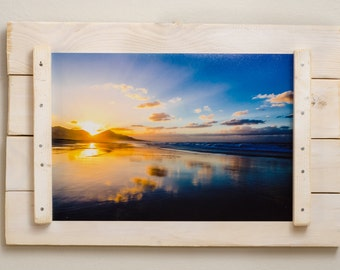 Rustic wooden frame entirely handmade, color white with 20 x 30 cm photo shabby effect,