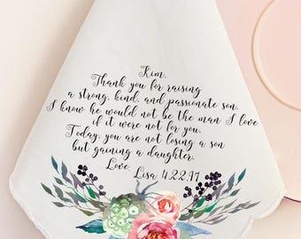 Wedding Handkerchief, Mother of the Groom Handkerchief, Mother in Law, Mom, Printed Hankie, Custom Handkerchief, Hankie Gift- 45