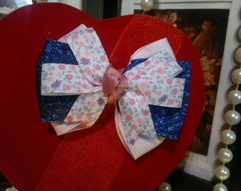 Vintage inspired blue and pink floral  Handmade Hair Bow