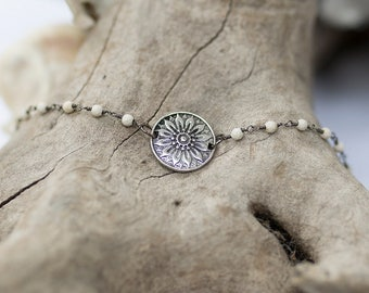Silver Flower Pendant Choker