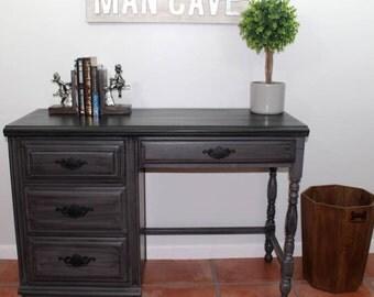 Gray Desk, Vintage Desk, Gray and Black Desk, Boy's Furniture, Black Desk
