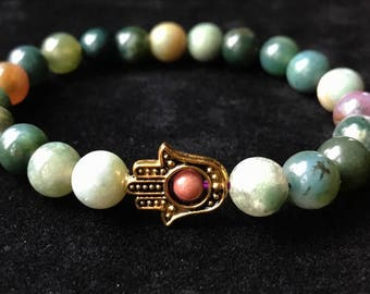 Gold Hamsa Hand Indian Agate Beautiful Balancing Healthy Peace Happiness Zen Hipster Gift Healing
