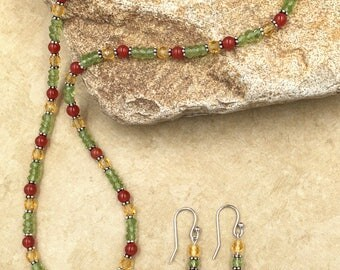 Happy Gourd - gemstone and crystal necklace