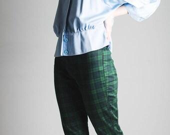 Pastel blue satin-look cotton blend shirt/ blouse // unusual construction // cute collar // batwing sleeve // 1980's