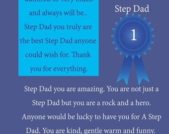 Step Dad Fathers Day Card with removable laminate