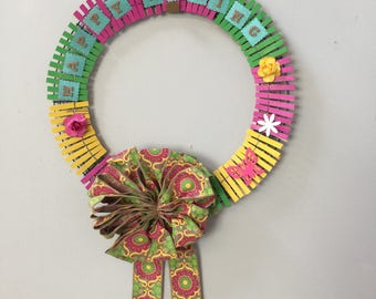 Happy Spring Wreath with Colorful Bow