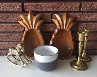 Vintage Monkey Pod Wood Pineapple Bowls