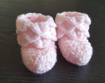 Crochet Baby Booties - Pink Booties - Soft Booties  - Handmade - Baby Shoes