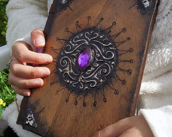 Book handmade Journal of wood bound with skin model gem (medium)