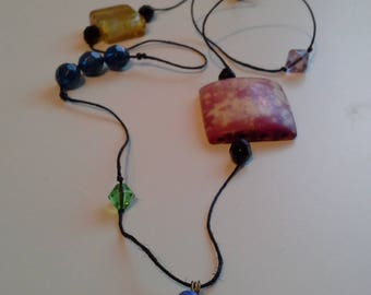 Multi coloured bead necklace with eye pendant