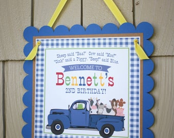 Little Blue Truck Birthday Welcome Door Sign - Little Blue Truck Birthday Decorations Fully Assembled - Blue Truck Party Welcome Sign