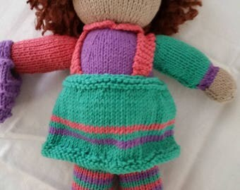 Bright Hues - hand knitted doll