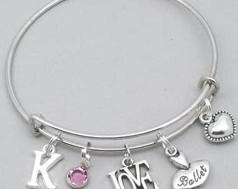Love ballet charm bracelet with cut out initial | ballet bangle | personalised ballet jewellery | ballet gift | tutu | ballerina