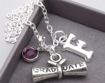 Graduate scroll monogram necklace | personalised graduation necklace | graduation pendant | graduation jewelry | gift for graduate