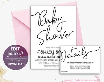 Editable & Printable Baby Shower Invitation Template, Instant Download, Baby Shower Invite | Baby Boy, Baby Girl, Details Card, PDF -009