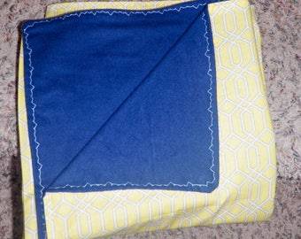 Hand sewn blue and yellow boy baby blanket cotton and flannel