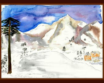 "Picture ""Sayan Mountains"" 11.2*16.6 in.Water color, still life"