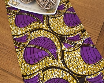 Table runner purple leaves and beige background, 127x34cm