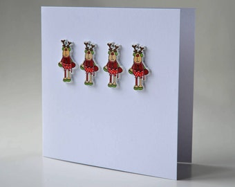Chirstmas reindeer wooden button greeting card with envelope 5x5