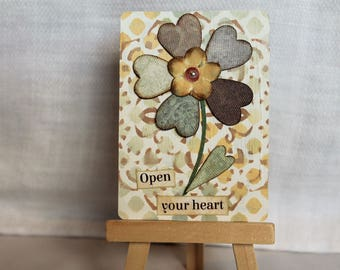 ACEO, mixed media original, ATC, artist trading card, flower, hearts, neutral colors, encouragement, 2.5x3.5, upcycled, open your heart