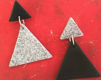 Sophisticated Lady/Black and Silver Granite/Polymer Clay Drop Earrings