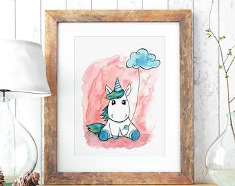 A3 Print Illustration Poster Unicorn P73