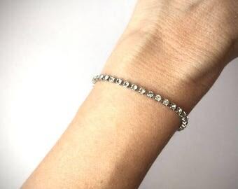 Crystal Rhinestone Tennis Bracelet/ Vintage 1980s/ Clear Crystal Rhinestone Bracelet