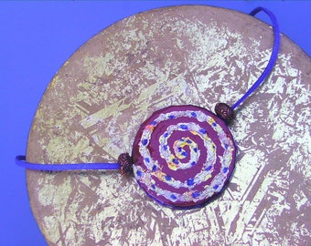Golden Spiral Tribal Pendant Necklace Shaman Book Art Natural Pigments Metal Leaf Gilded Earth Goddess Symbol Ochre Ultramarin Copper Beads