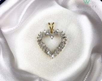 "The ""Heart II"": 14K Gold Heart Pendant with Cubic Zirconium Stones - Fine Jewelry"