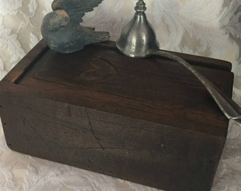Hand Made, Primitive, Antique, Wooden, Slide Lid, Stash Box