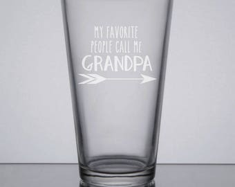 Grandpa Pint Glass, Etched Pint Glass, 16oz Beer Glass, Dad Pint Glass, Sandblasted Glass, New Grandpa Gift, Gift for Grandpa, Etched Beer