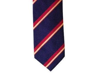 Navy/Red Striped Tie. Men's Silk Necktie