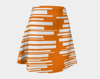 Skirt, Gift, Orange, For Her, Wife Gift, Womens Skirt, Gift, Retro, Geometric, A-Line Skirt, Womens Gift, Unique, Gift for Women, White