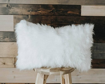 "Faux Fur Throw Pillow Southwestern Collection 14x22 Lumbar ""The Nomad"""