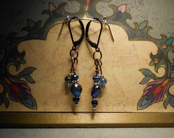 Blue and silver beads and lever back clasp