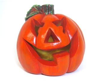 Jack o' Lantern, Pumpkin, Lighted Pumpkin, Halloween Decor, Hand Painted, Plaster, Candle Lit Pumpkin