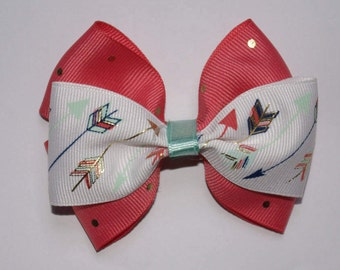 Arrows and Coral Dots Double Boutique Hair Bow